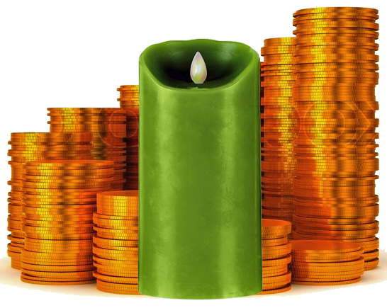 Coins around a Green Candle for a Pay Me Back Spell (Hoodoo)